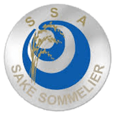 Introductory Sake Sommelier badge in blue and silver with gold lettering.